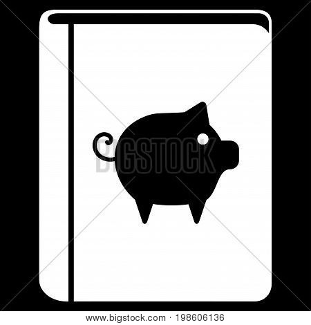Pig Handbook vector icon. Flat white symbol. Pictogram is isolated on a black background. Designed for web and software interfaces.