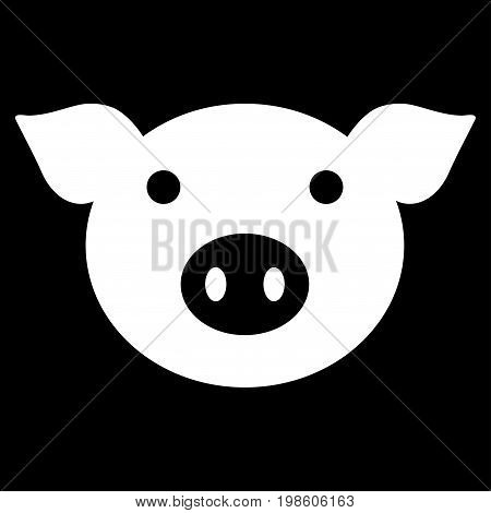 Pig Head vector icon. Flat white symbol. Pictogram is isolated on a black background. Designed for web and software interfaces.