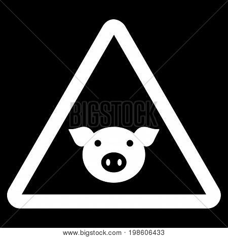 Pig Warning vector icon. Flat white symbol. Pictogram is isolated on a black background. Designed for web and software interfaces.