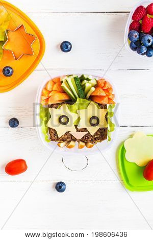 School lunch box for kids. Back to school. Top view flat lay
