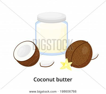 Cartoon coconut butter in glass with ripe cocos isolated on white background.