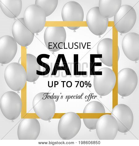 White background with realistic silver helium balloons, golden square frame and text. Can be used for posters, invitations, flayers, wallpaper, banners, brochures. Used clipping mask.