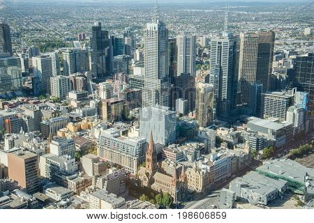 MELBOURNE, AUSTRALIA - FEBRUARY 20 2016: Melbourne CBD above view from Eureka building the highest building of Australia.