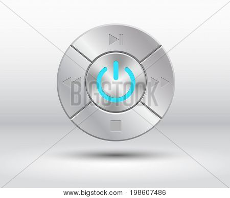 Metalic, chrom buttons with power and audio, video simbols. Used clipping masks.