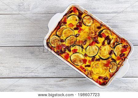 Delicious Zucchini Casserole In Gratin Dish