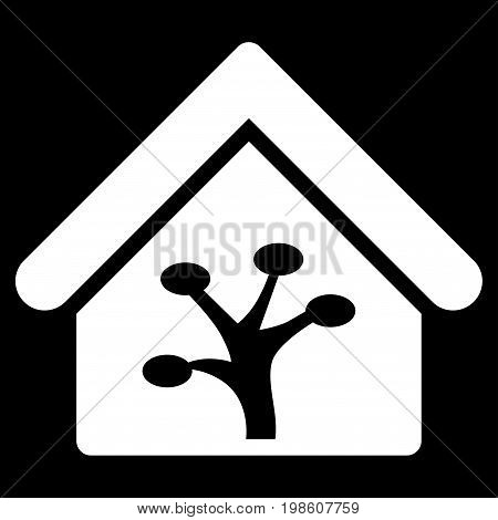 Plant Glasshouse vector icon. Flat white symbol. Pictogram is isolated on a black background. Designed for web and software interfaces.