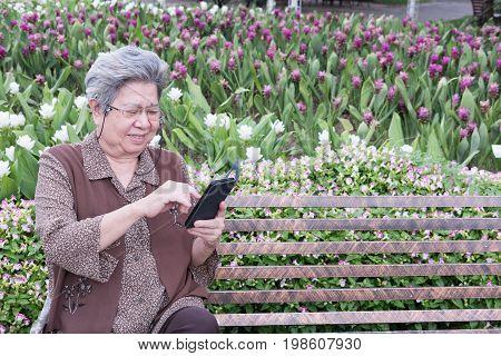 Asian Elder Woman Holding Mobile Smart Phone While Sitting On Bench In Garden. Elderly Senior Female