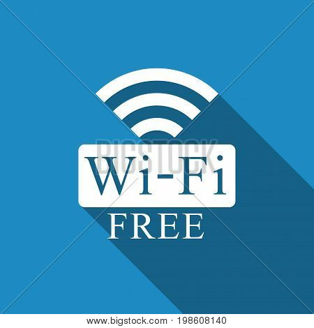 Free wifi sign icon isolated with long shadow. Wifi symbol. Wireless Network icon. Wifi zone. Flat design. Vector Illustration