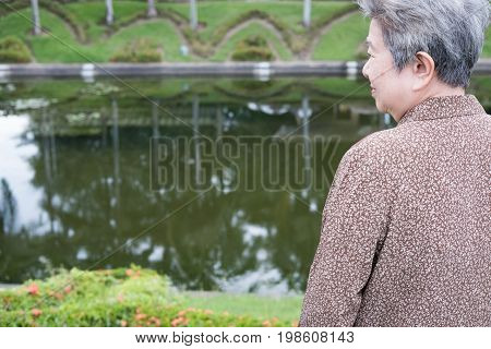 Asian Elder Woman Standing In Garden. Elderly Senior Female Resting And Relaxing Near Pond In Park