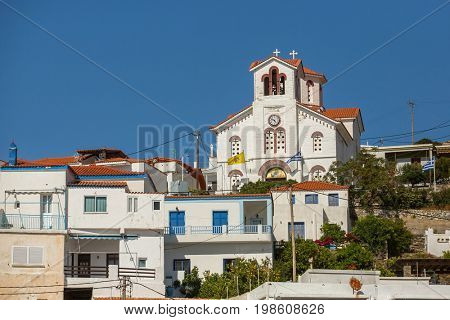 View of buildings at Andros island, Aegean sea, Greece.