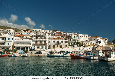 View of the Marina at Andros island, Aegean sea, Greece.