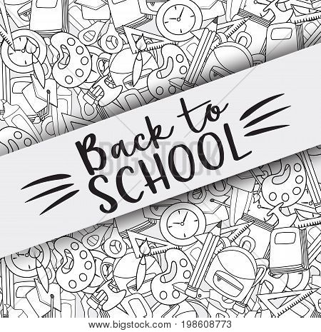 Back to school doodle clip art greeting card. Cartoon vector illustration for flyer to banner. Typography script text.