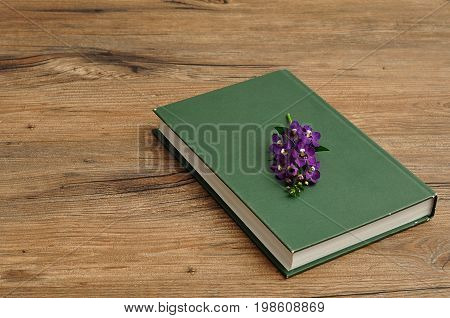 A green hardcover story book with purple flowers