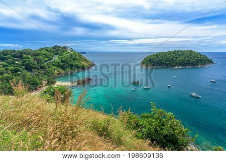 Tropical seascape viewpoint with blue sky in Phuket, Thailand