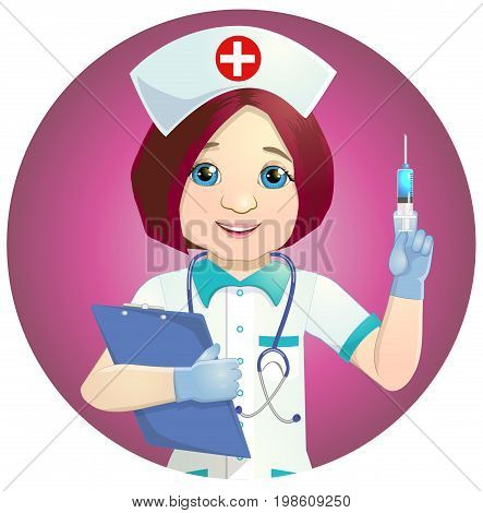 Cheerful nurse with injection syringe. Vector illustration of a smiling nurse with medical icons background.