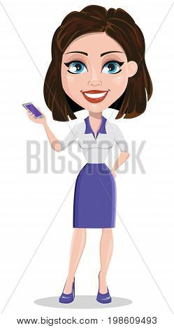 Beautiful business woman holding smartphone. Businesswoman in formal wear standing straight. Cute cartoon character. Vector illustration.