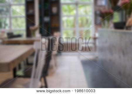 Table And Chair In Food Court, Cafe, Coffee Shop, Restaurant Interior. Blur For Background