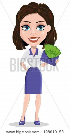 Beautiful business woman holding envelope full of money. Businesswoman in formal wear standing straight. Cute cartoon character. Vector illustration.