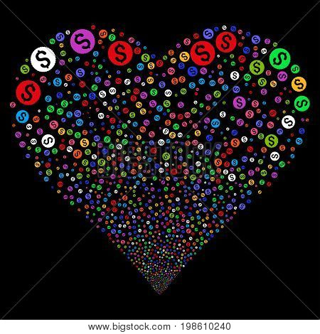 Dollar Coin fireworks with heart shape. Vector illustration style is flat bright multicolored iconic symbols on a black background. Object valentine heart created from scattered symbols.
