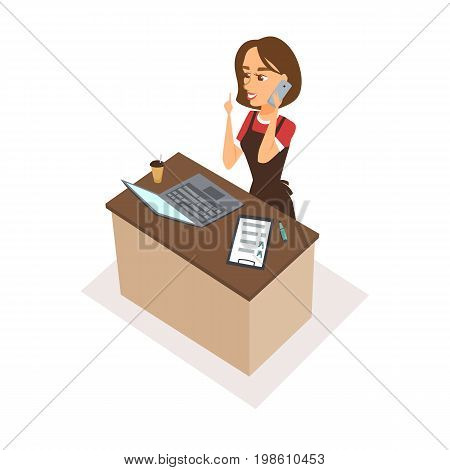 Woman character receptionist with phone, checklist, laptop. Food order acceptance. Online delivery restaurant call center. Operator talk to customers and show the index finger