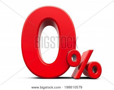 Red zero percent sign isolated on white background three-dimensional rendering 3D illustration