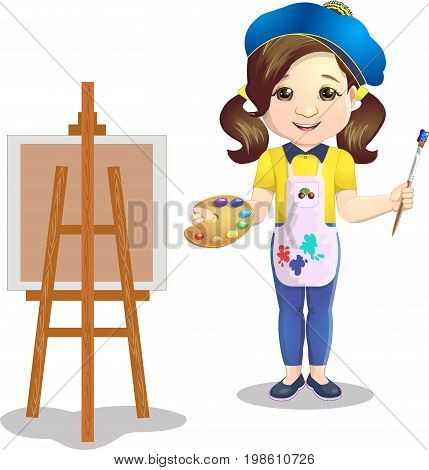 Schoolgirl with a palette near an easel paints a picture on canvas a picture, on a white background
