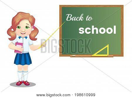 A schoolgirl with a book in the classroom near the blackboard. Schoolgirl in school uniform