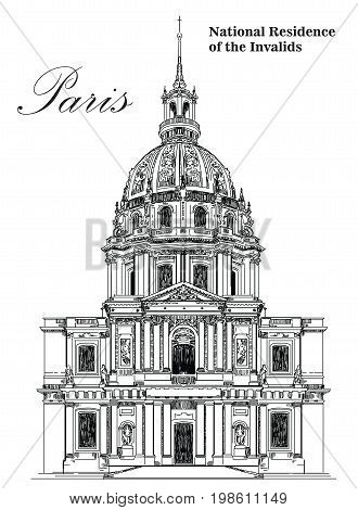 National Residence of the Invalids (landmark of Paris)- vector hand drawing illustration in black color on white background