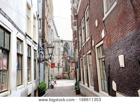 Amsterdam Holland Europe - day view of an alley in the city center