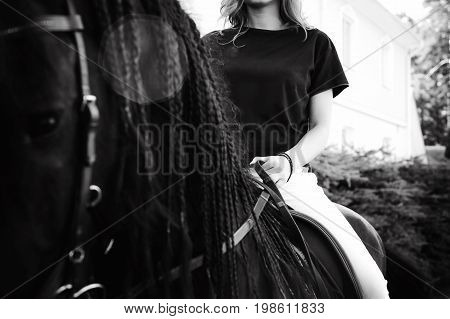 Emotional Portrait Of A Horsewoman Rider Woman, Astride, In Love With Horses, Black Friesian Stallio