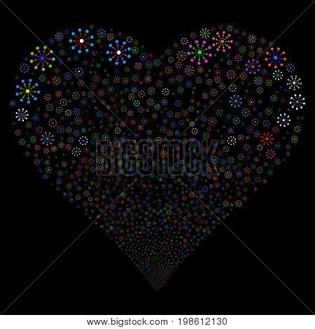 Expanse fireworks with heart shape. Vector illustration style is flat bright multicolored iconic symbols on a black background. Object valentine heart made from random pictograms.