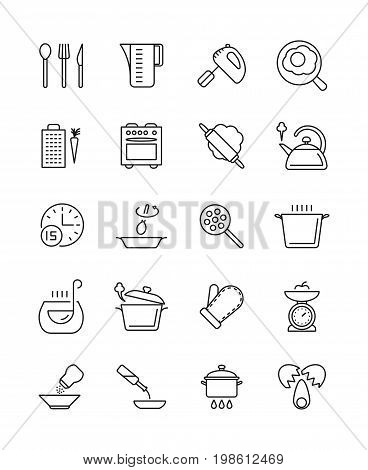 Cooking, food preparation and kitchen tools vector icons. Kitchen utensil and cooking tool spoon and fork illustration