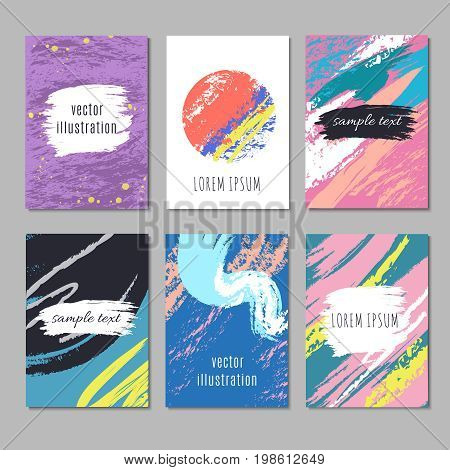 Modern art wallpapers vector set. Contemporary backgrounds with drawing artistic doodle texture. Fashionable banner with chaotic watercolor brush illustration