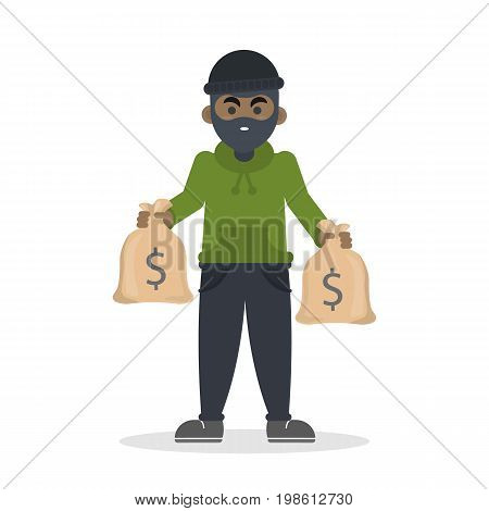 Isolated african thief on white background. Man with money bag.