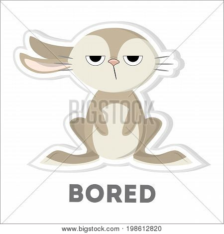 Isolated bored rabbit. Funny cartoon character on white background.