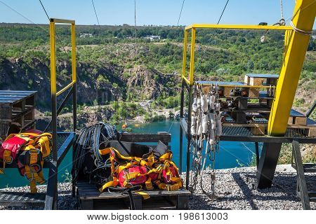 Zipline. Equipment for safe sliding on a steel cable.