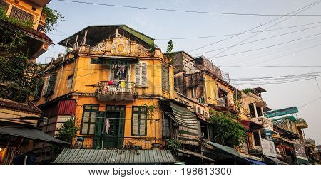 Old Houses At Old Town In Hanoi, Vietnam