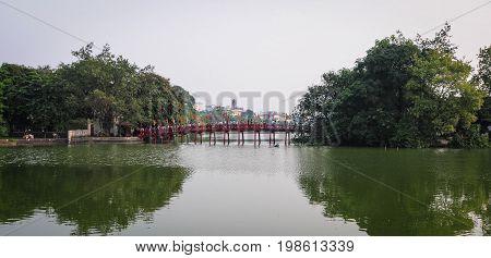 The Huc Bridge In Hanoi City, Vietnam