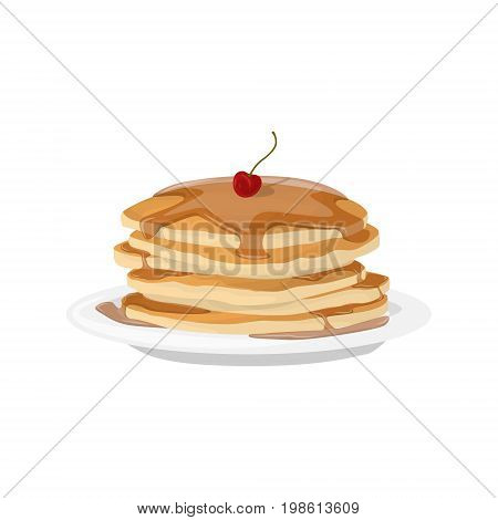 Breakfast pancakes plate. Isolated stack of pancakes with cherry and syrop on white background.
