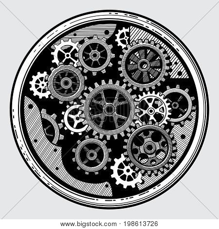 Vintage industrial machinery with gears. Cogwheel transmission in hand drawn old style vector illustration. Equipment with machinery sketch transmission cogwheel