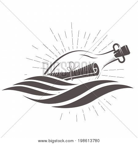 SOS message in a bottle floating on waves