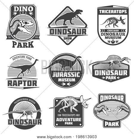 Vintage grunge dinosaur vector labels. Dino logos and t-shirt design. Jurassic zoo park museum emblems. Sticker label with character dinosaur illustration