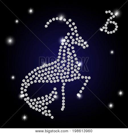 white outline of capricorn are on black background. Vector illustration