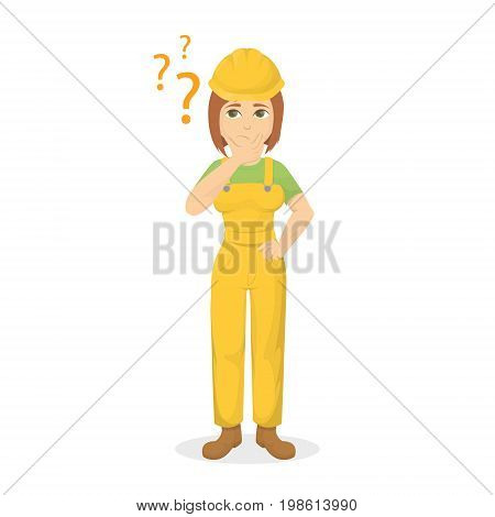 Isolated confused builder on white background. Woman in unisorm with question marks.
