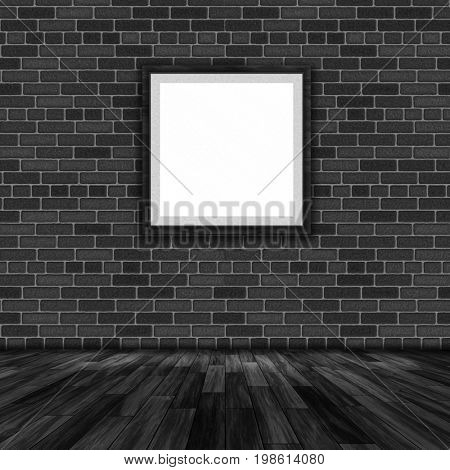 3D render of a blank picture frame hanging on a brick wall