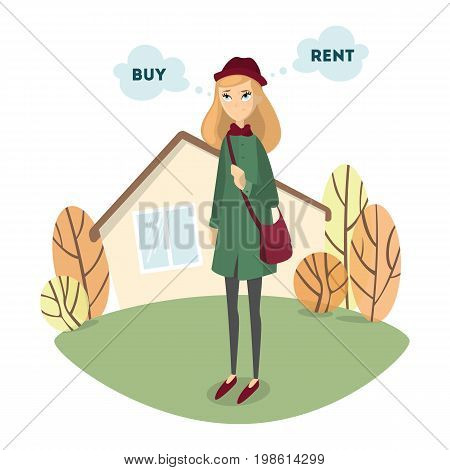 Buy or rent. Beautiful confused woman decides to buy or to rent the house.
