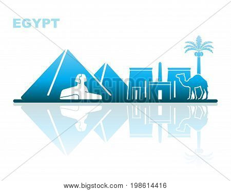 Abstract landscape of architectural landmarks of Egypt