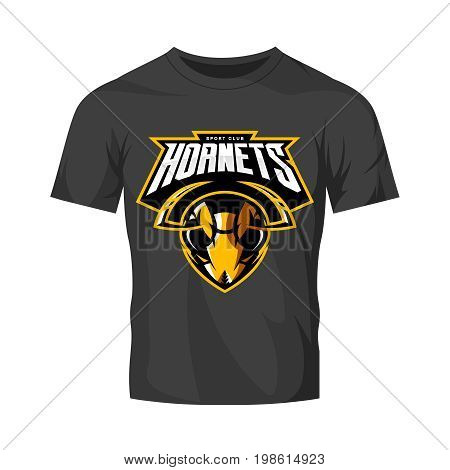 Furious hornet head athletic club vector logo concept isolated on black t-shirt mockup.  Modern sport team mascot badge design. Premium quality wild insect emblem t-shirt tee print illustration.