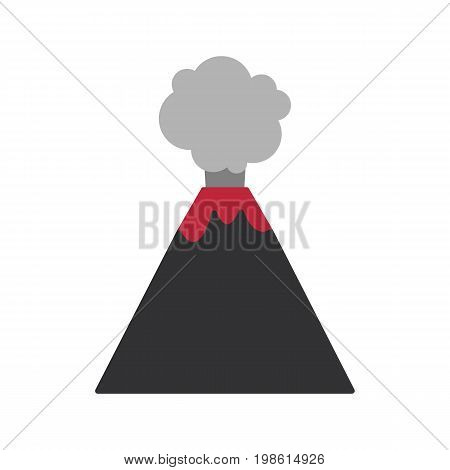 Volcano vector flat icon Flat design of volcano eruption isolated on the white background cute vector illustration