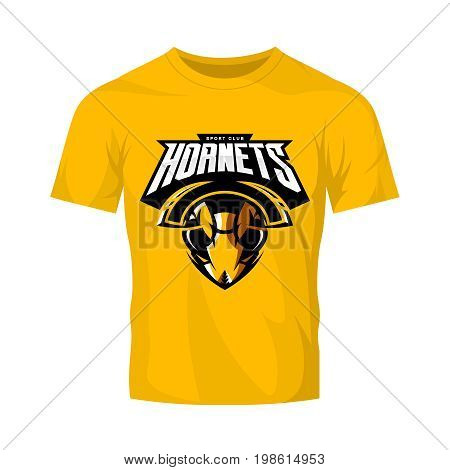 Furious hornet head athletic club vector logo concept isolated on orange t-shirt mockup.  Modern sport team mascot badge design. Premium quality wild insect emblem t-shirt tee print illustration.